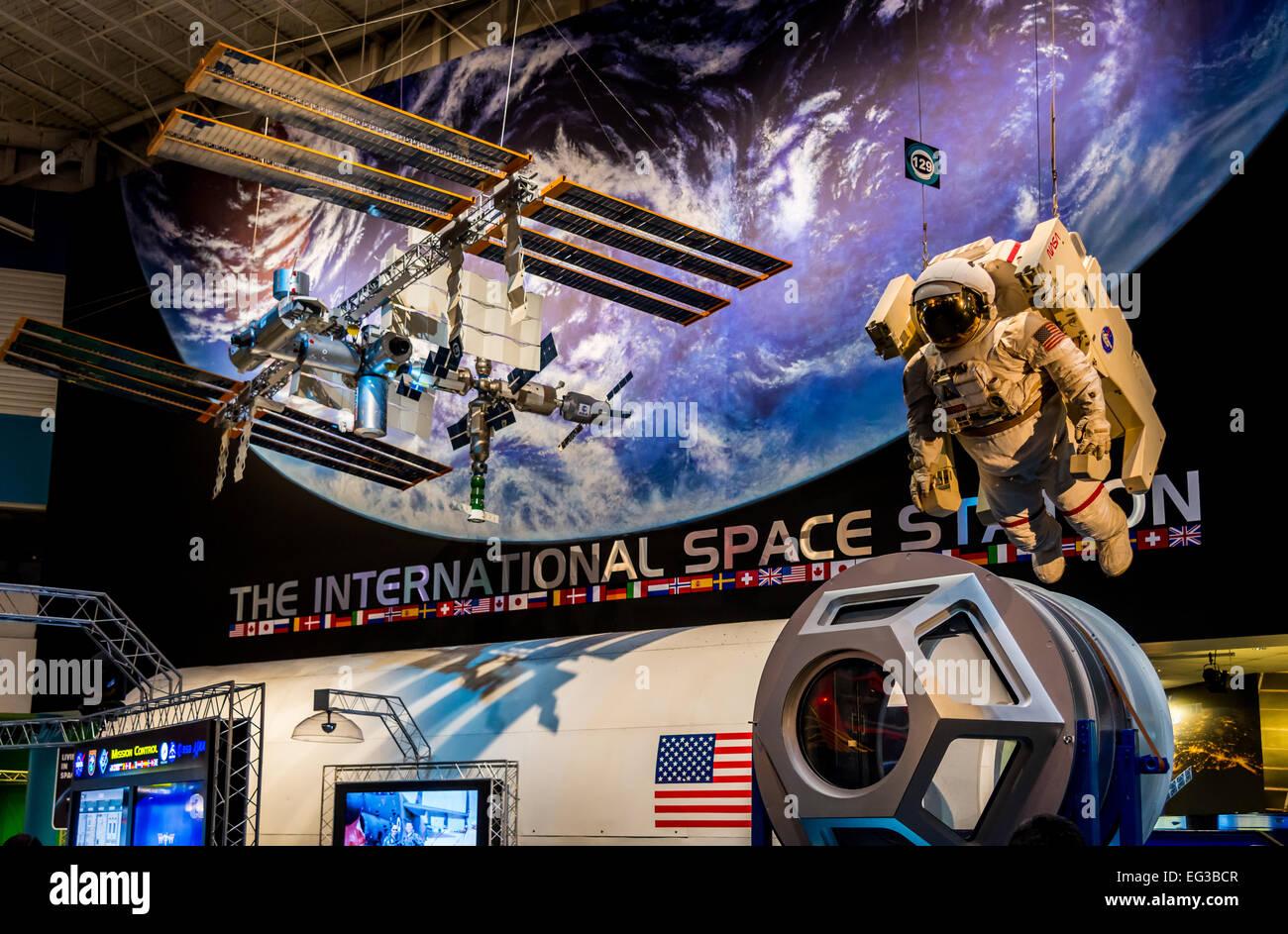 Le modèle de la Station spatiale internationale de la NASA Johnson Space Center, Houston, Texas, USA. Photo Stock