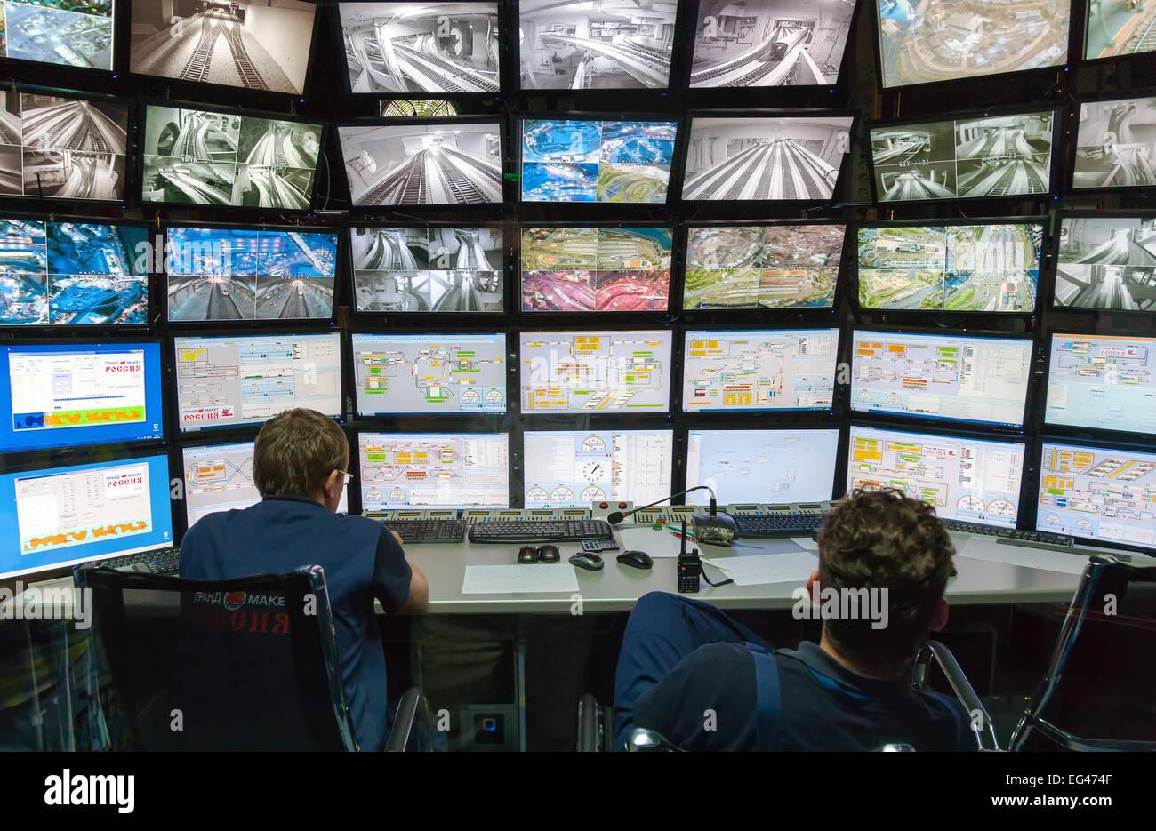 Salle de contrôle de l'attraction Grand modèle russe. Photo Stock
