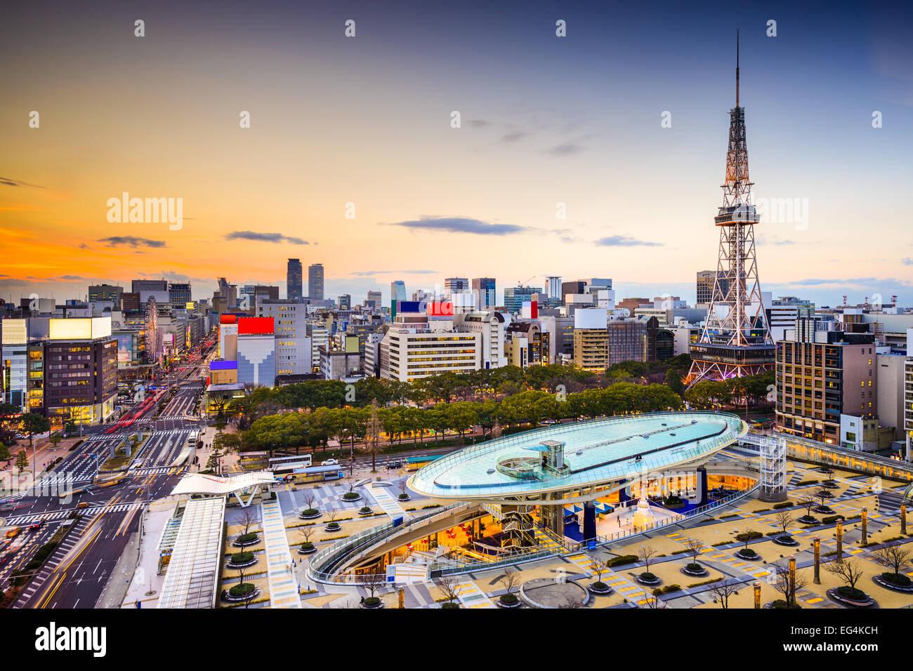 Nagoya, Japon, ville à la tour. Photo Stock