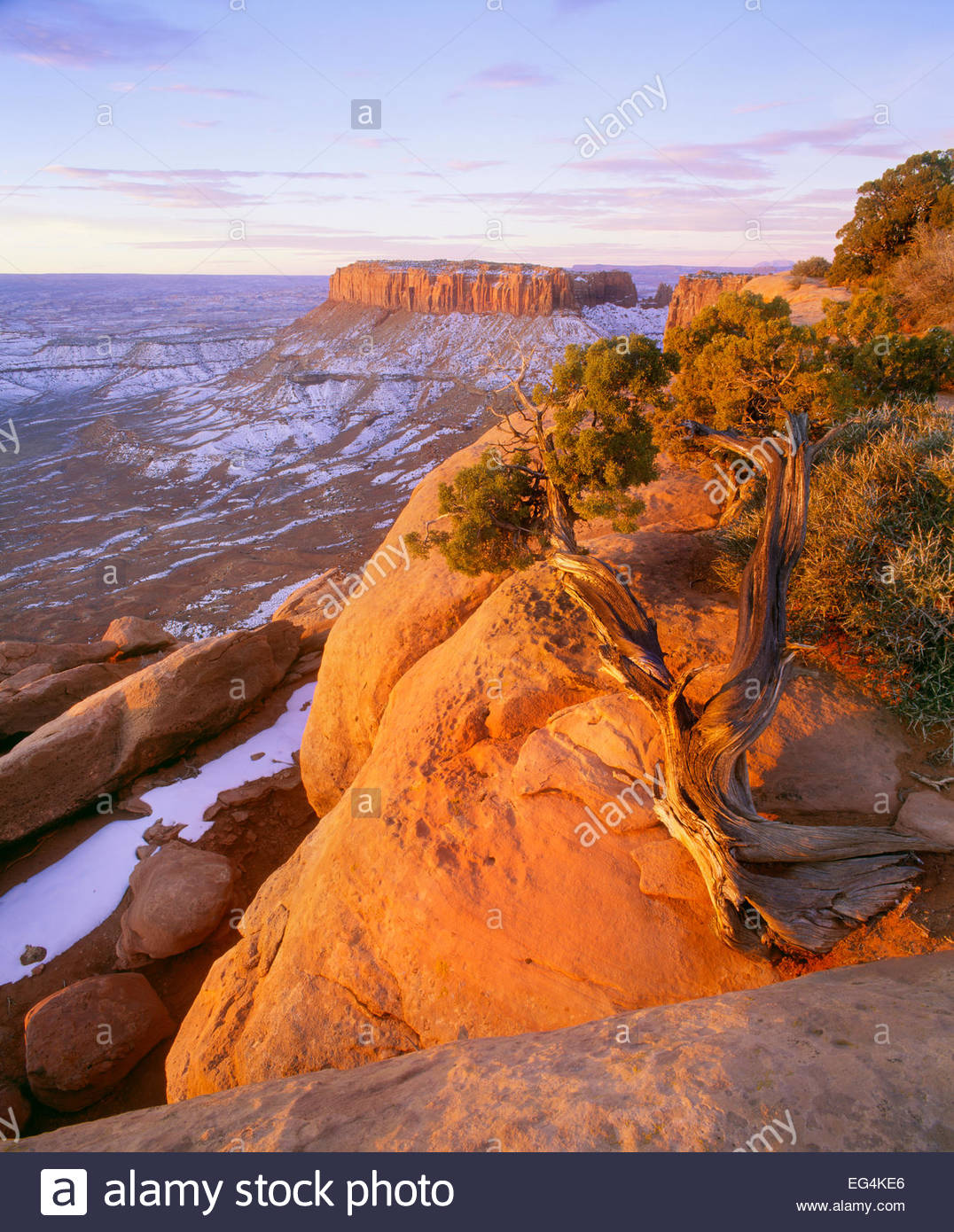 Lever du soleil d'hiver à Grandview Point. Île dans le ciel. Canyonlands National Park, en Utah. Photo Stock