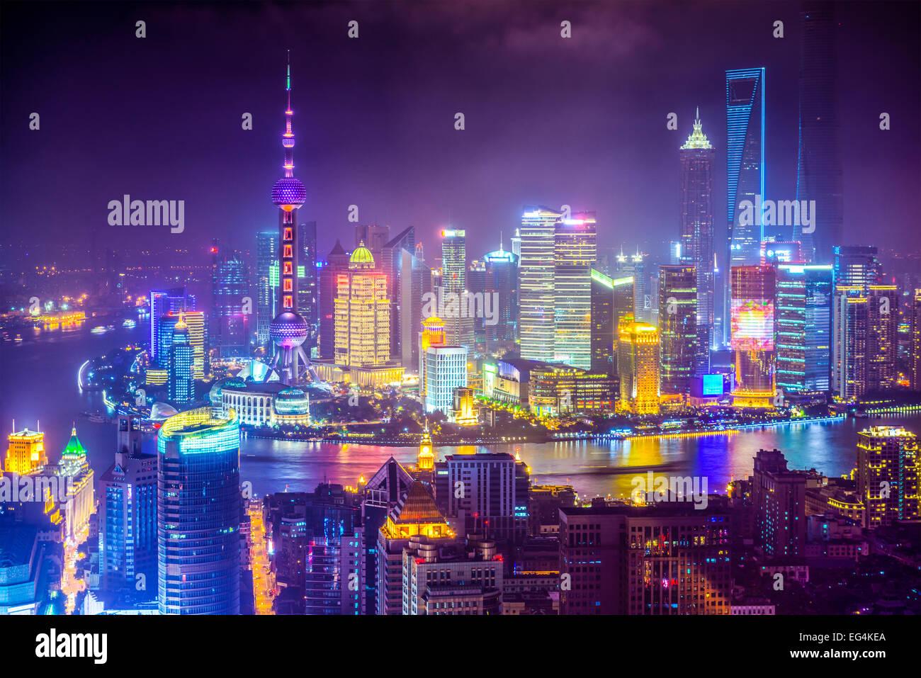 Shanghai, Chine vue aérienne paysage urbain. Photo Stock