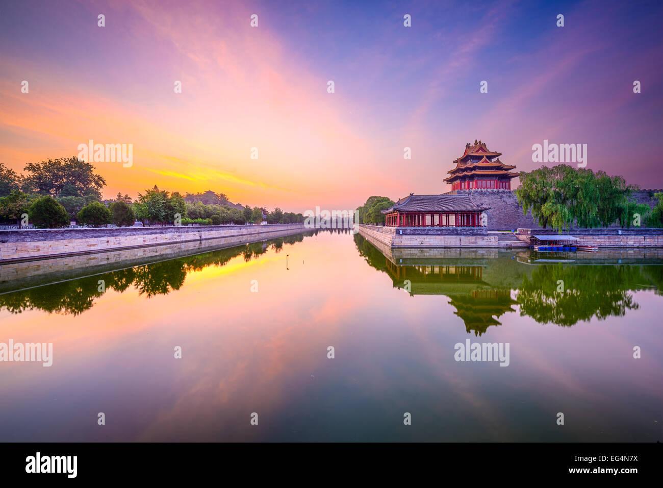 Beijing, Chine cité interdite douves extérieures à l'aube. Photo Stock