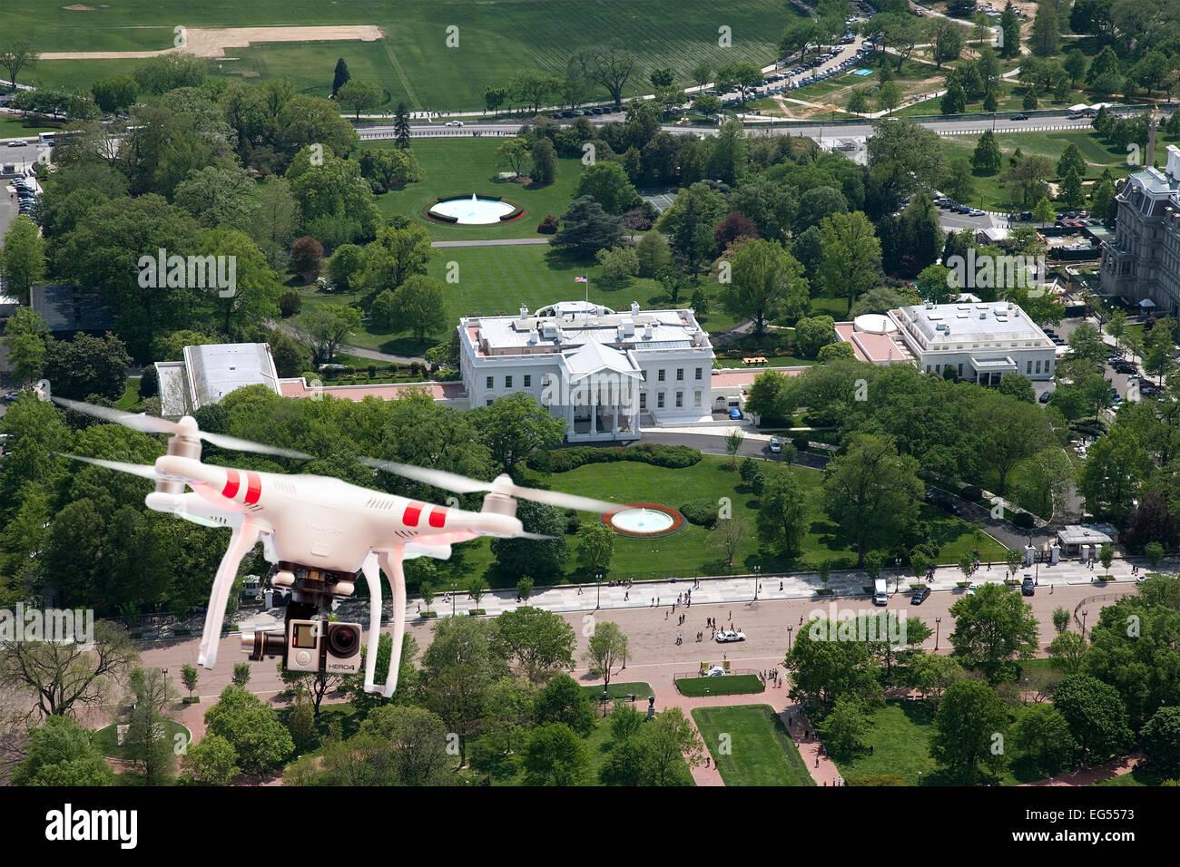 Drone Quadcopter ou voler au-dessus de la Maison Blanche à Washington USA Banque D'Images