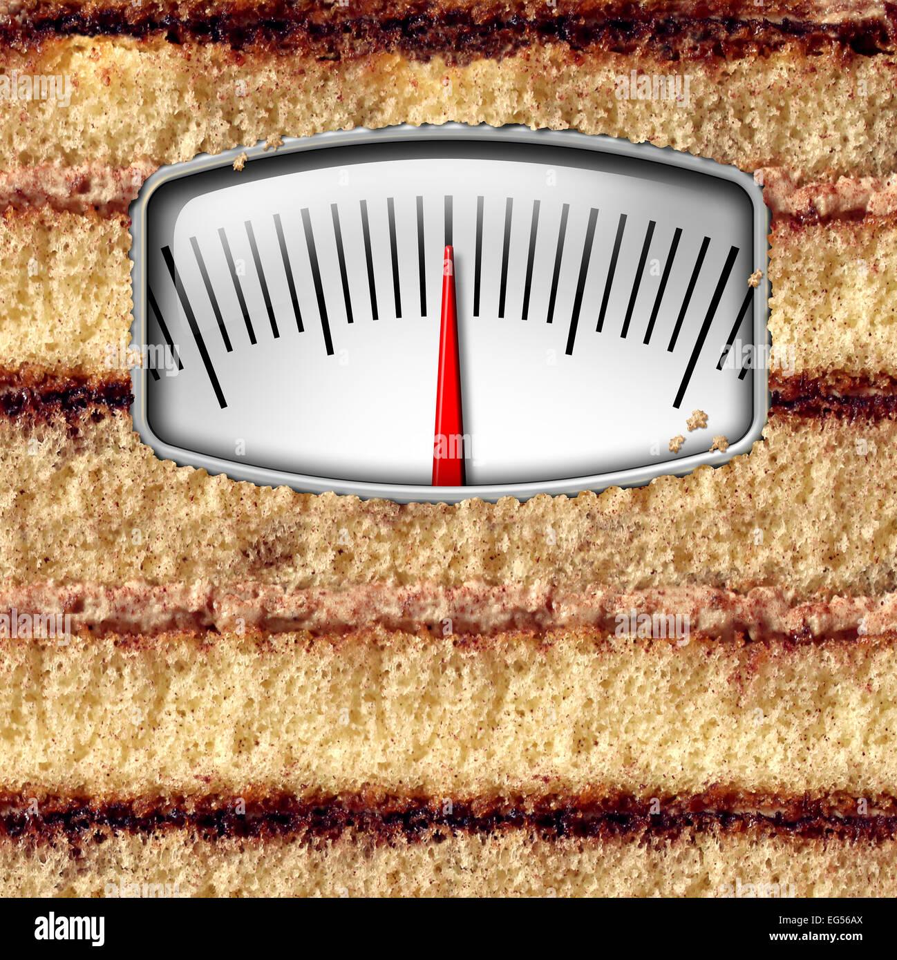 Échelle de poids régime alimentaire concept et de compter les calories comme symbole un gâteau avec Photo Stock