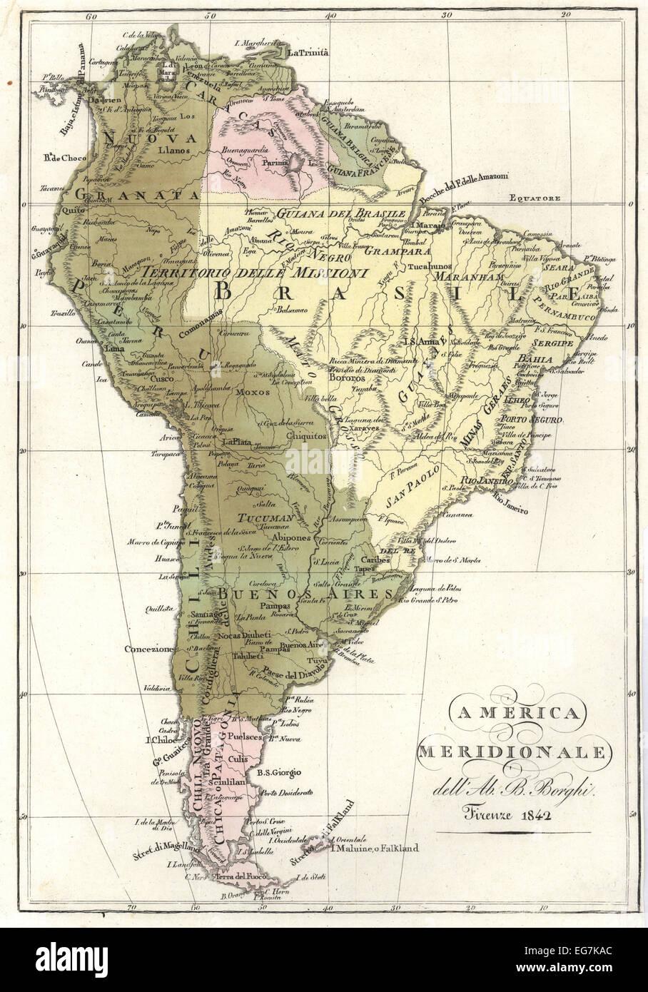 La carte de l'Amérique du Sud, 1842. Photo Stock