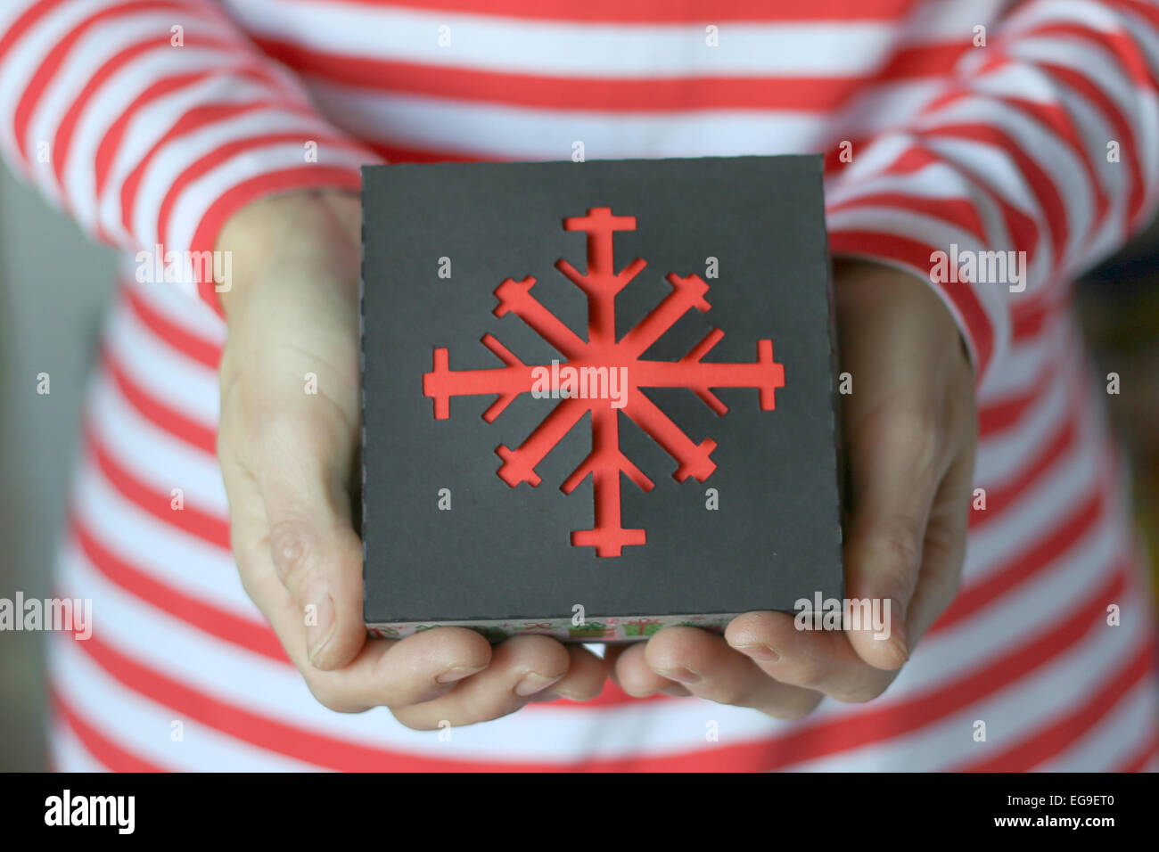 Woman holding christmas gift Photo Stock