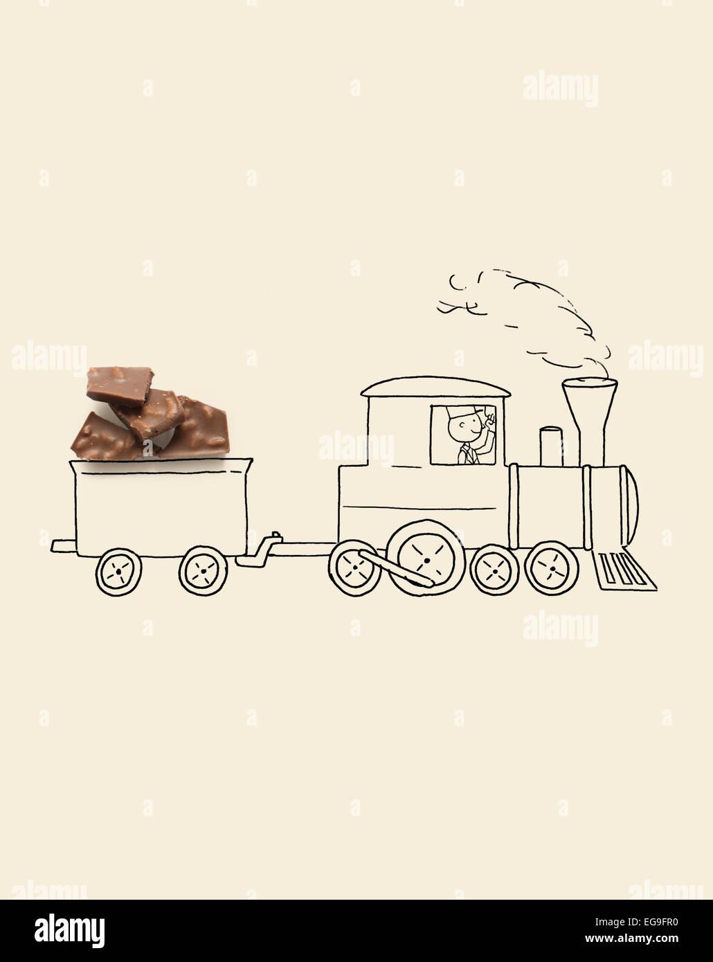 Le train de marchandises conceptuel avec wagon de marchandises Photo Stock