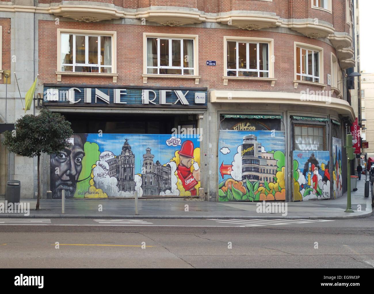 Cinéma Rex Ciné, fermé, en raison de la crise en Espagne, cinémas, cinéma, films, film, Photo Stock