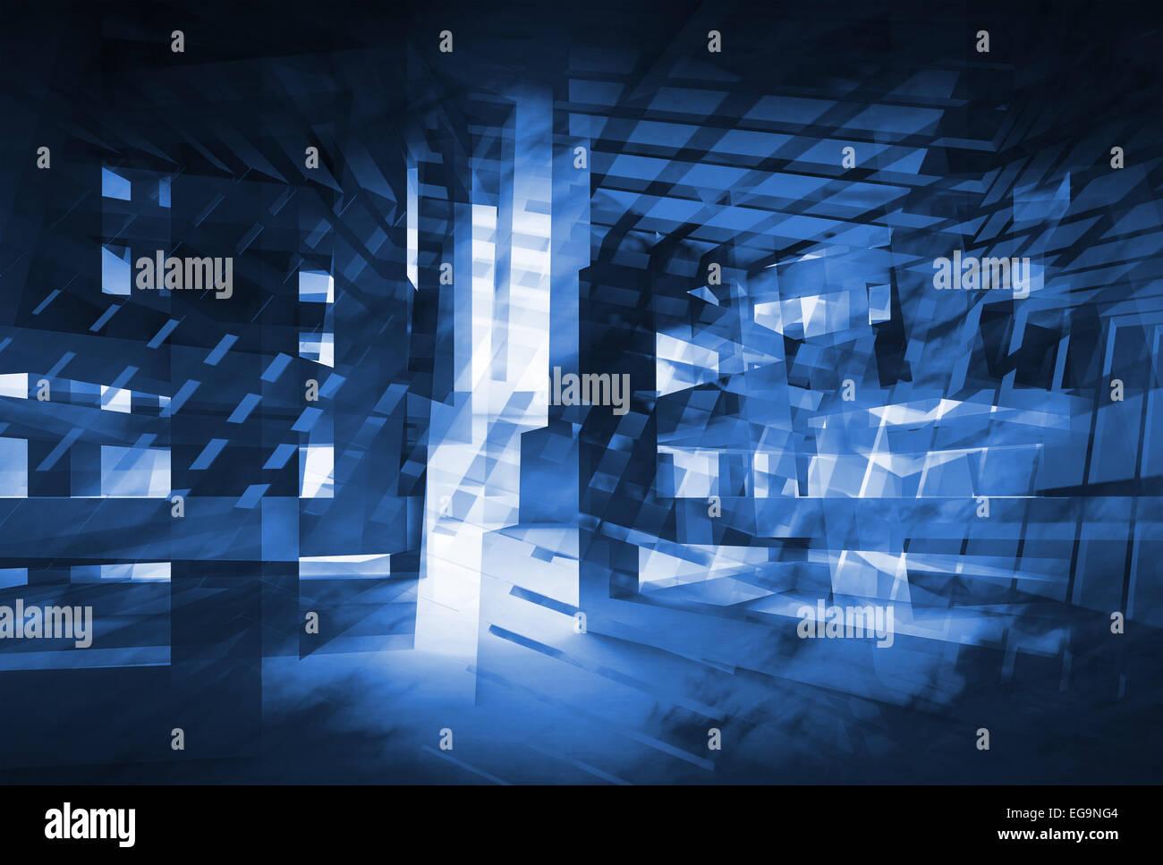 Résumé bleu foncé fond numérique 3d. Hi-tech concept illustration Photo Stock