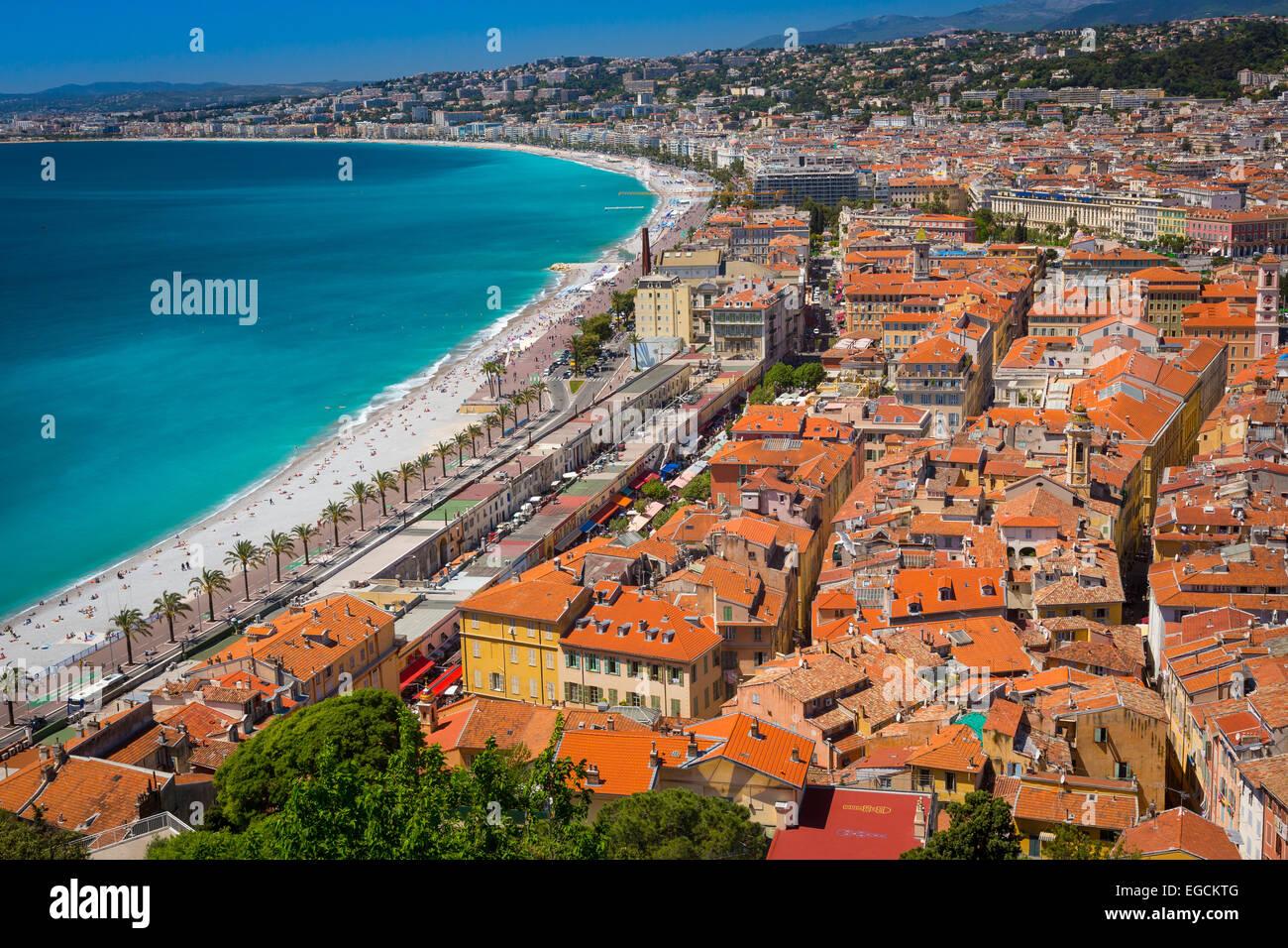 Au-dessus de la Promenade des Anglais Nice, France Photo Stock