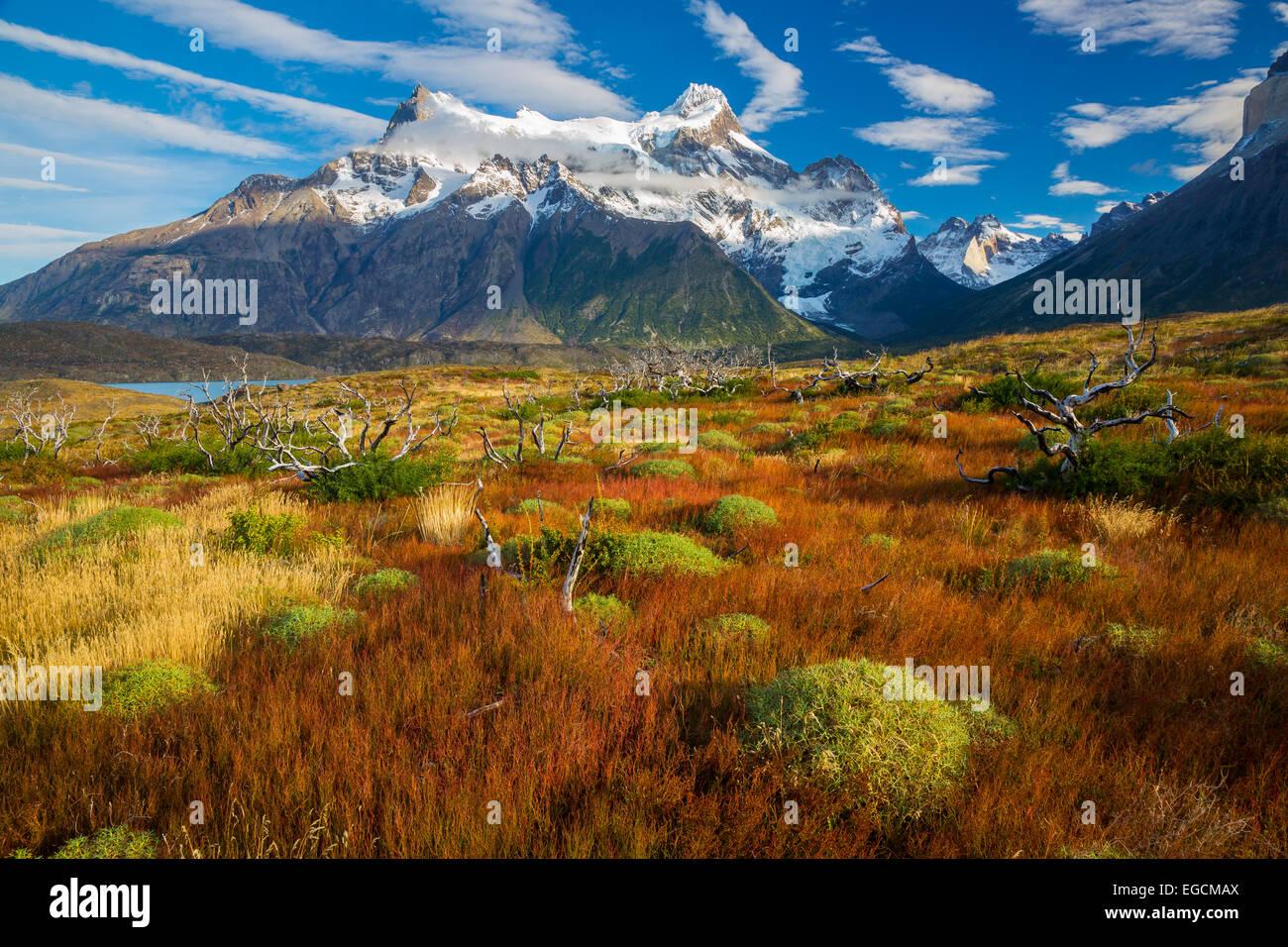 Los Cuernos s'élevant au-dessus de Lago Nordenskjold, Torres del Paine, Patagonie Chilienne Photo Stock