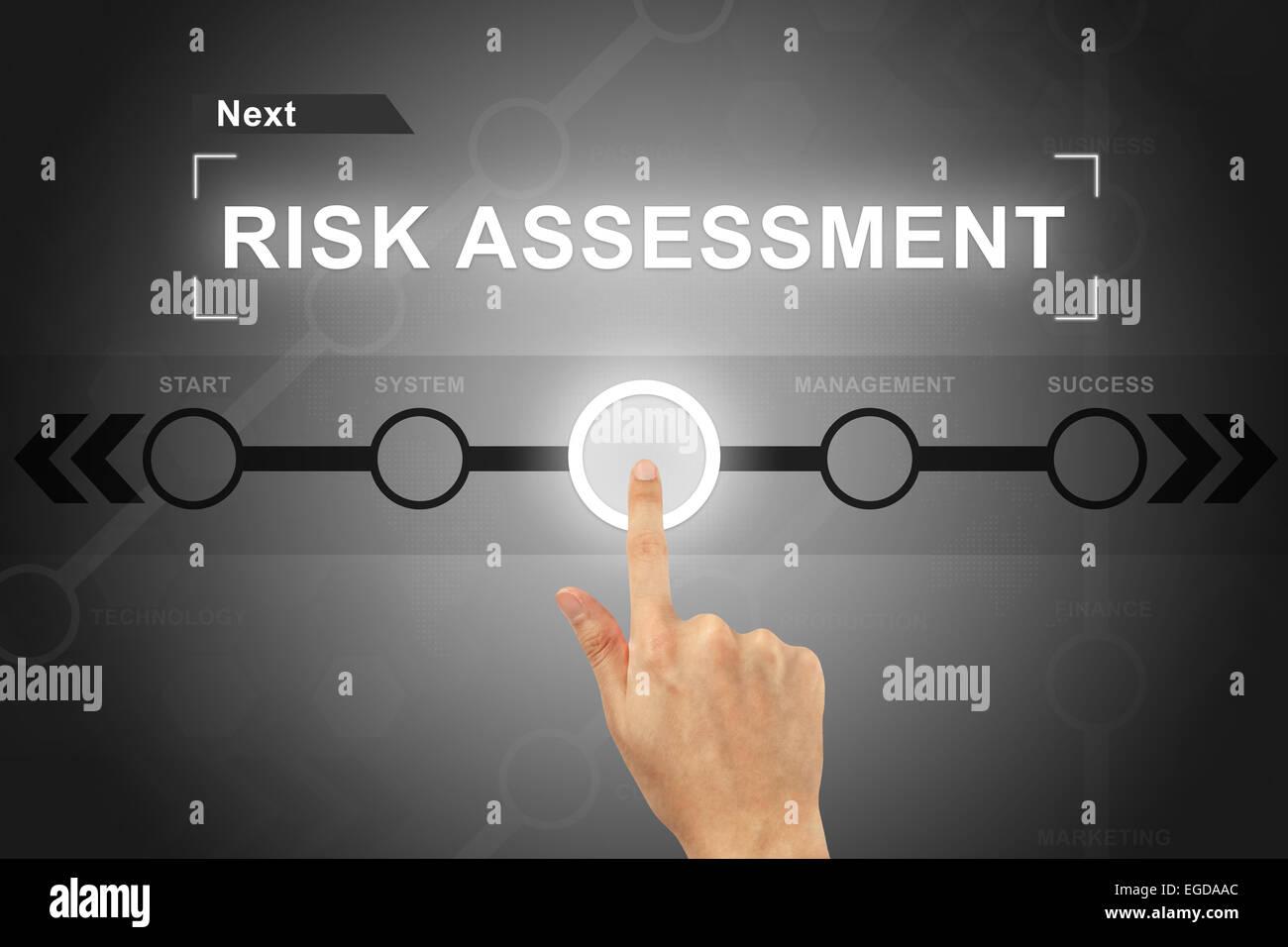 Part en cliquant sur le bouton de l'évaluation des risques sur un écran tactile Photo Stock
