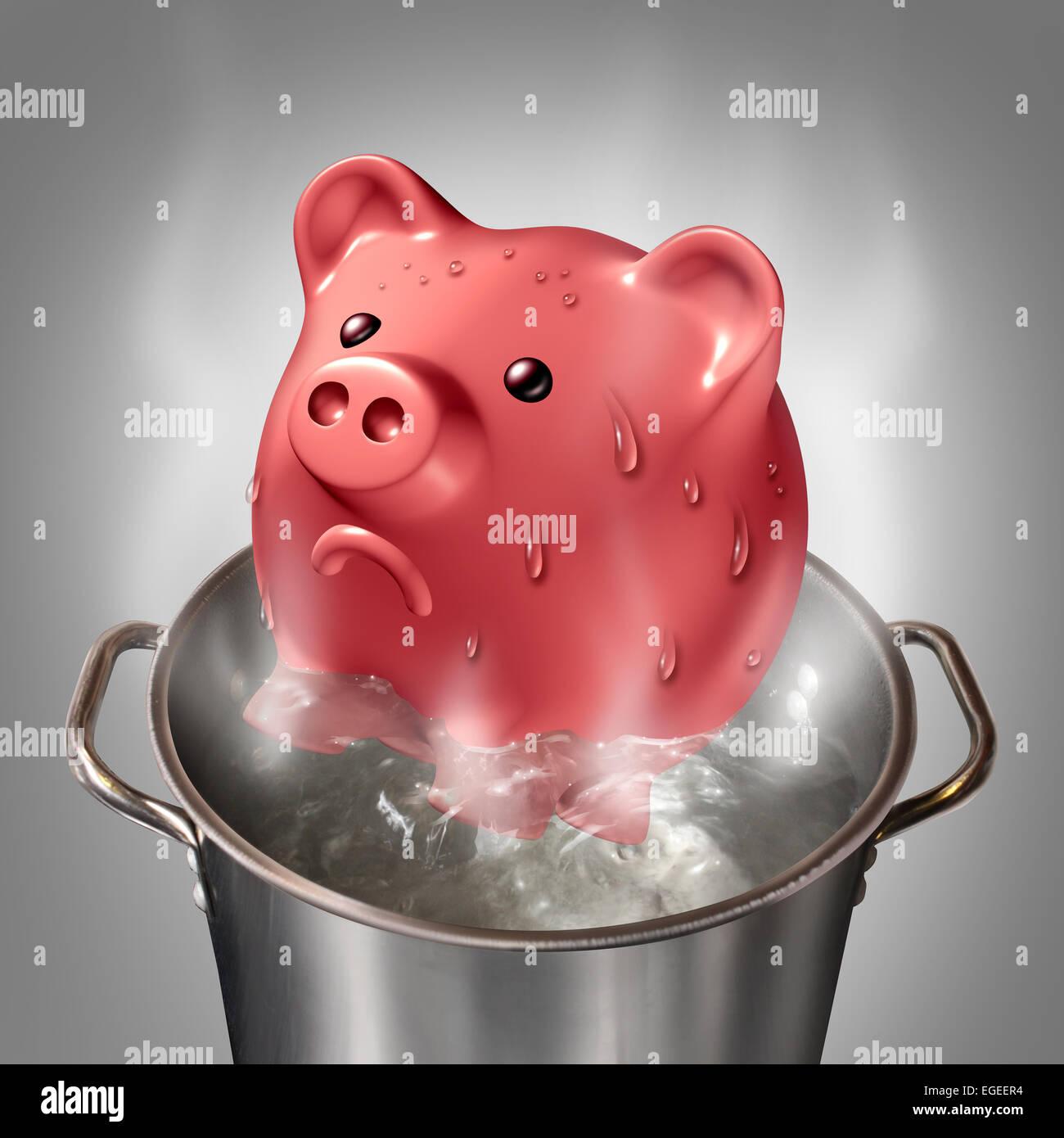 Concept d'entreprise chaleur financière comme une tirelire dans une casserole d'eau bouillante chaude Photo Stock