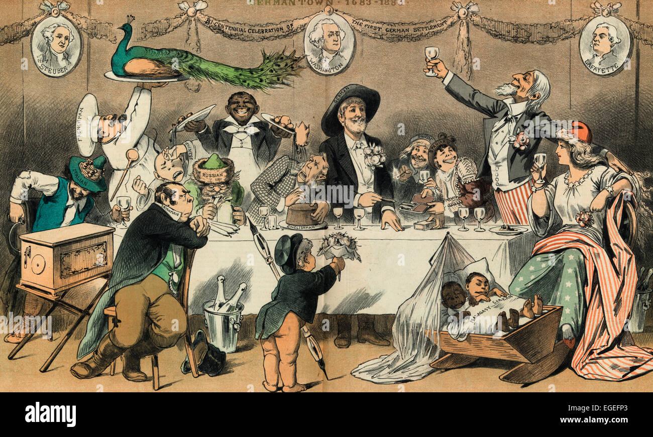 Une partie de la famille - Le 200e anniversaire des plus saines de l'Oncle Sam's les enfants adoptés. Caricature politique 1883 Banque D'Images