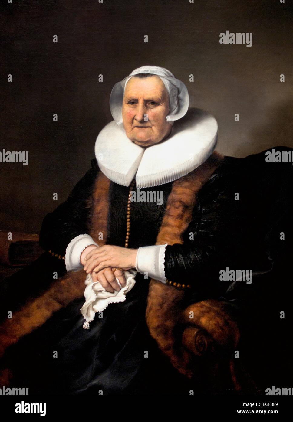 Portrait d'une vieille dame Elisabeth Bas 1640 Ferdinand Bol Néerlandais Pays-Bas 1616-1680 Photo Stock