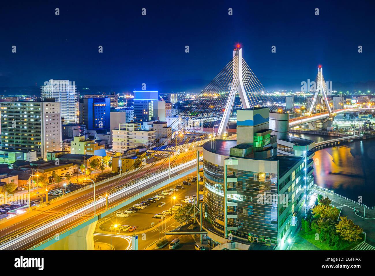 La Ville d'Aomori, Japon centre-ville paysage urbain. Photo Stock