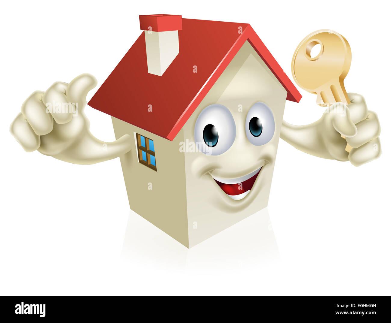 Un dessin de caractère maison mascot tenant une clé concept pour lachat dune nouvelle maison limmobilier ou similaire
