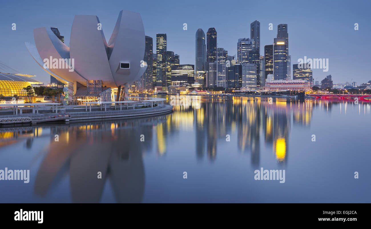 Art et Science Museum, du quartier financier, Marina Bay, Singapour, Photo Stock