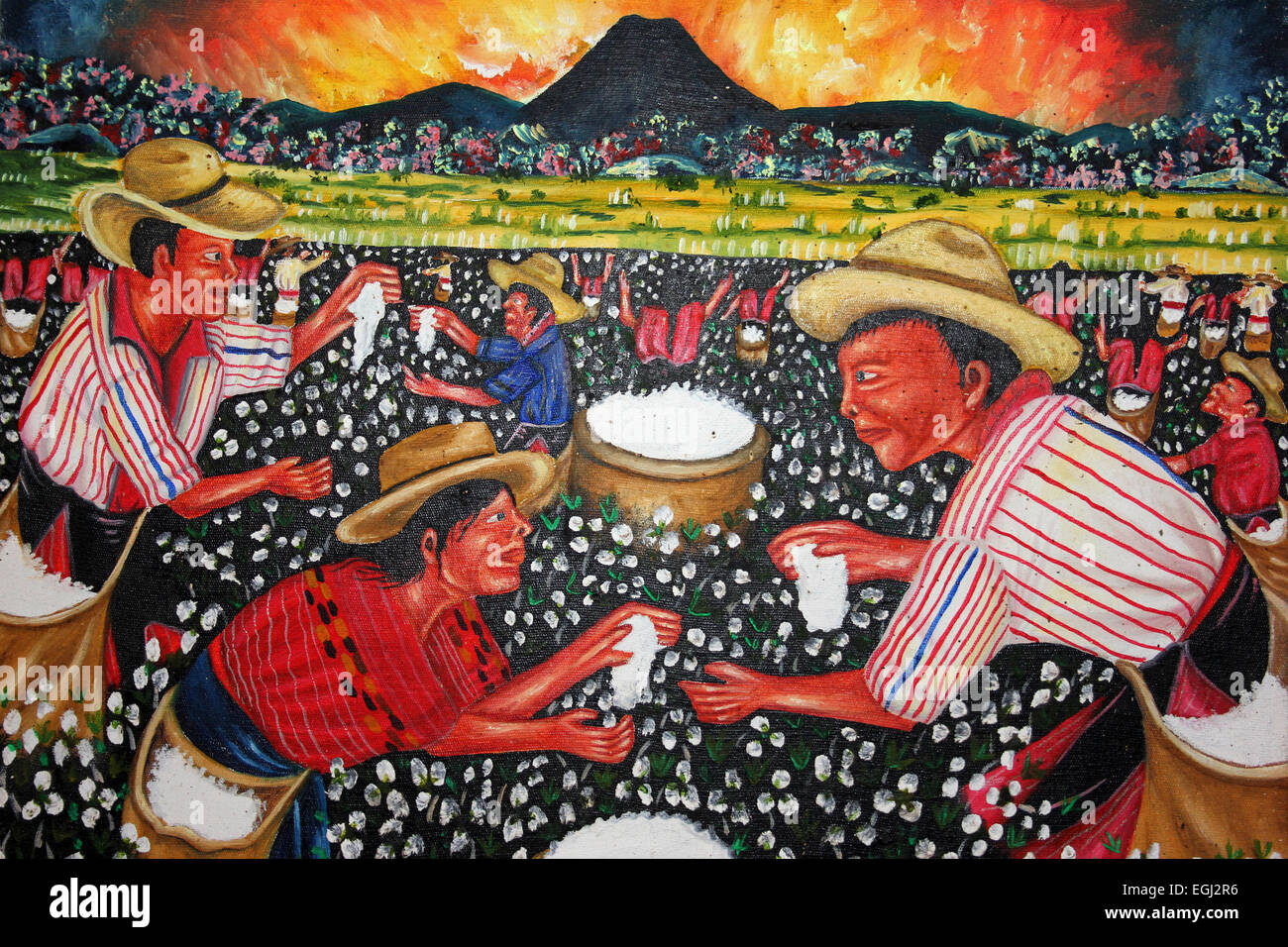 Guatemala la peinture à l'huile montrant Cotton Pickers Photo Stock