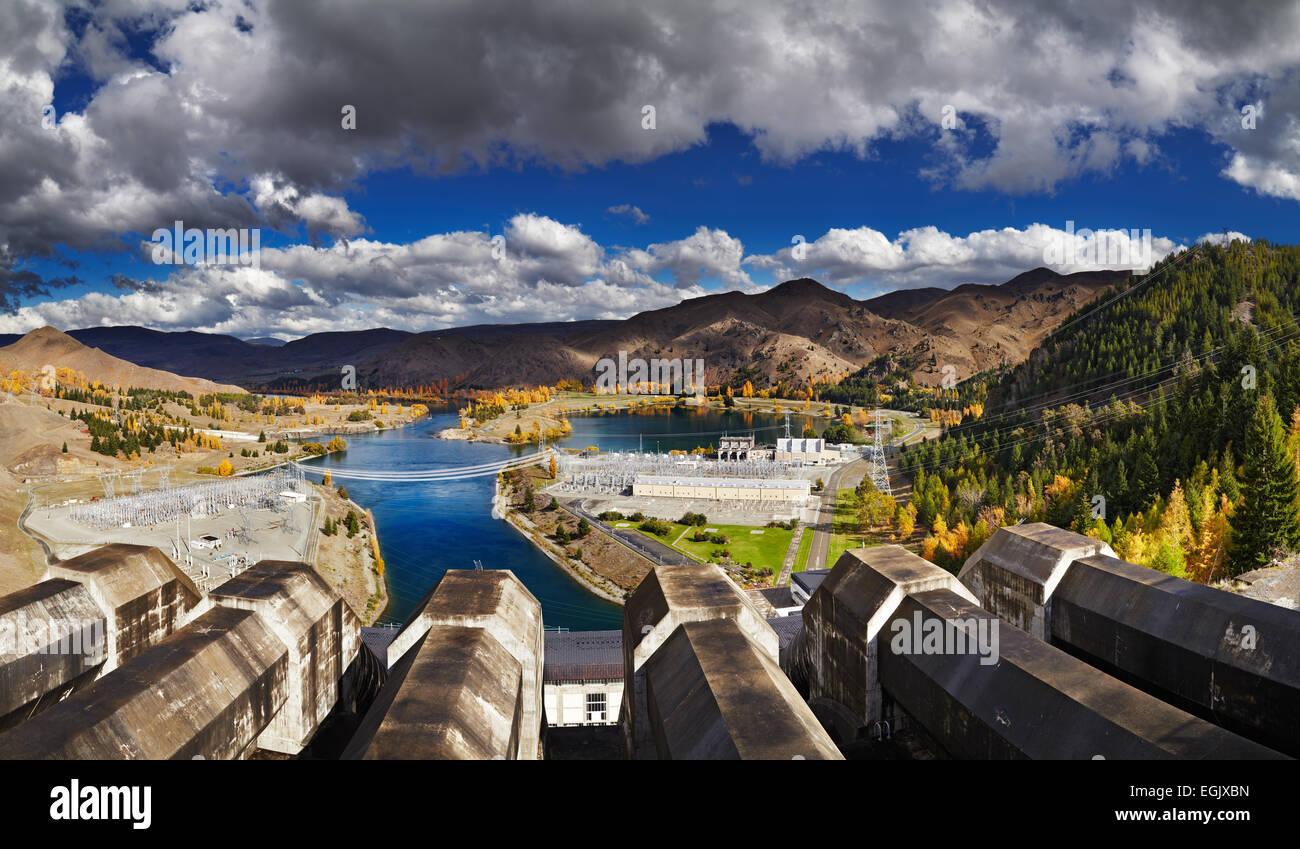 Barrage hydroélectrique du lac Benmore, Nouvelle-Zélande Photo Stock