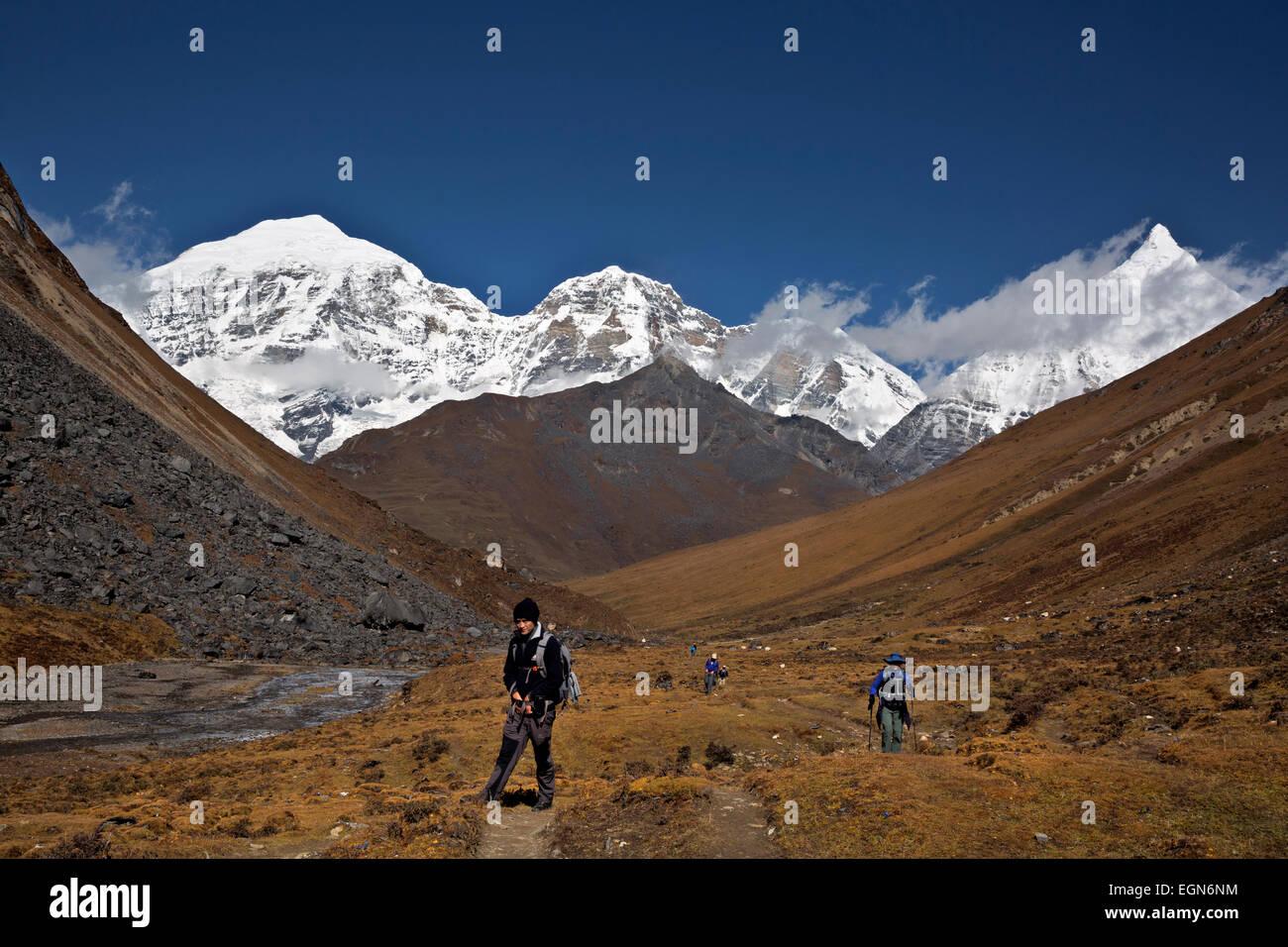 Bhoutan - Gembo, l'assistant guide, dirige un groupe de trekkers vers Bhonte La, le point culminant de l'Jhomolhari Photo Stock