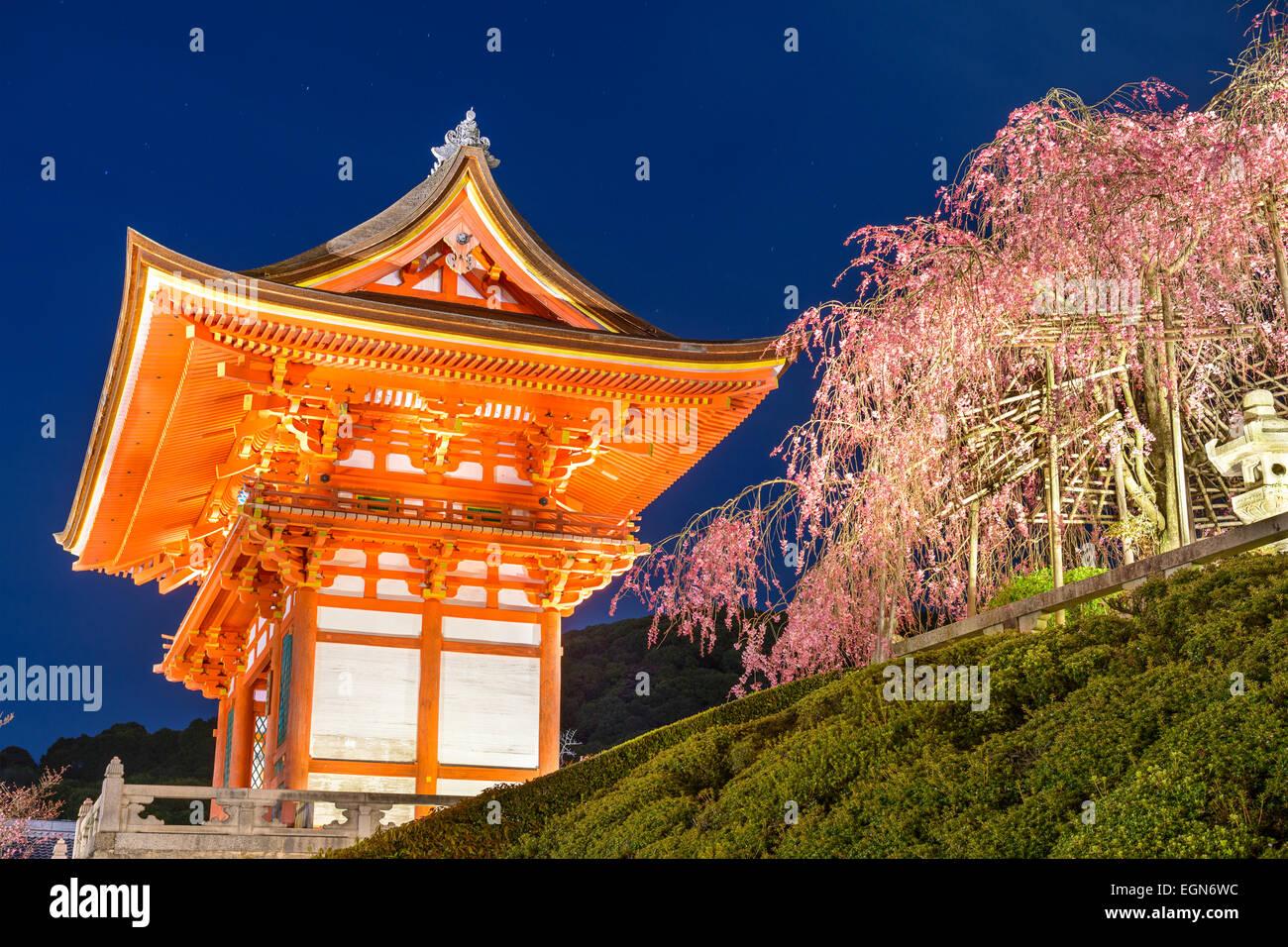 Kyoto, Japon Kiyomizu-dera au culte extérieur gate au printemps est éclairée la nuit. Photo Stock