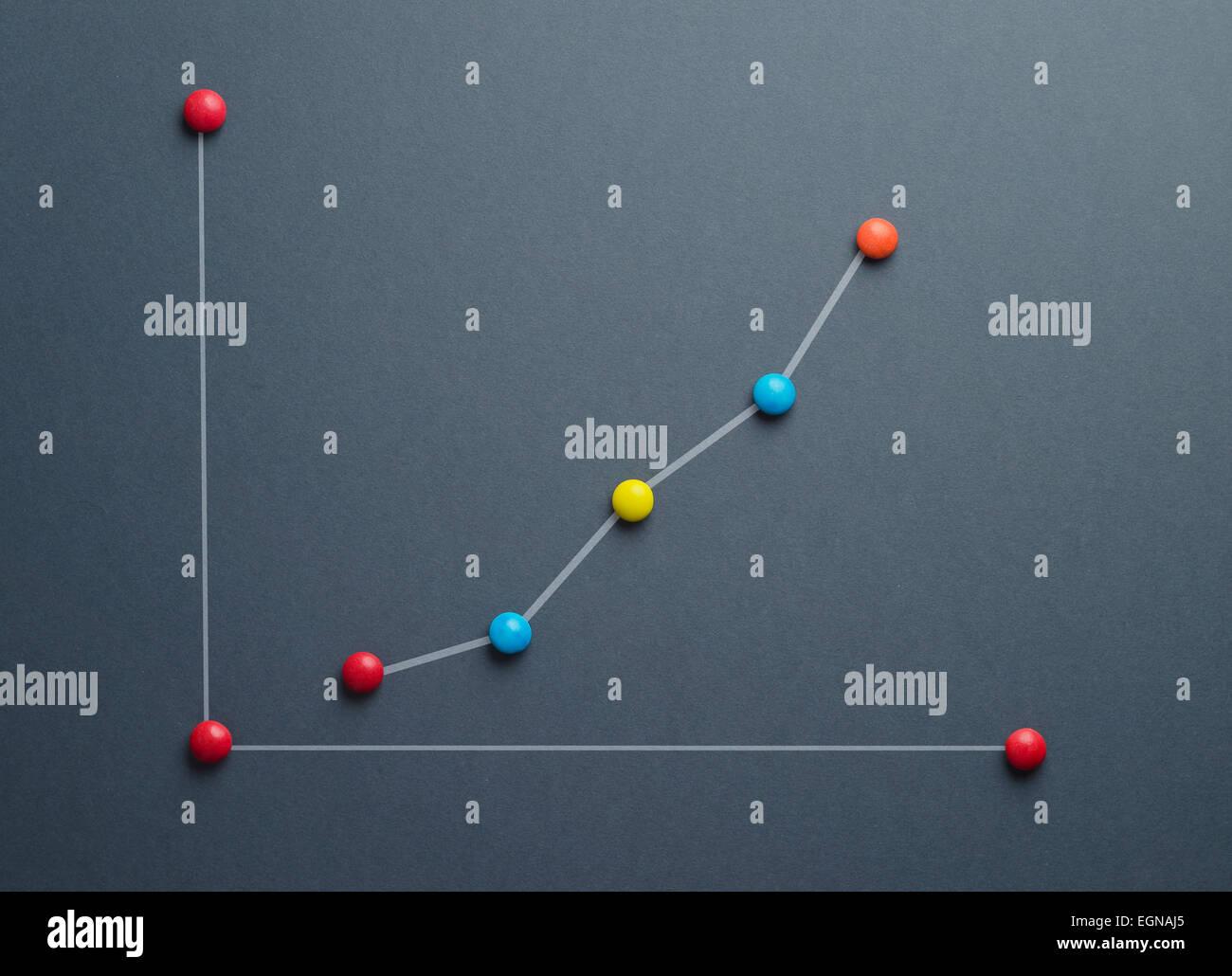 Concept graphique de croissance fait de bonbons en forme de bouton coloré sur fond bleu foncé. Cette image Photo Stock