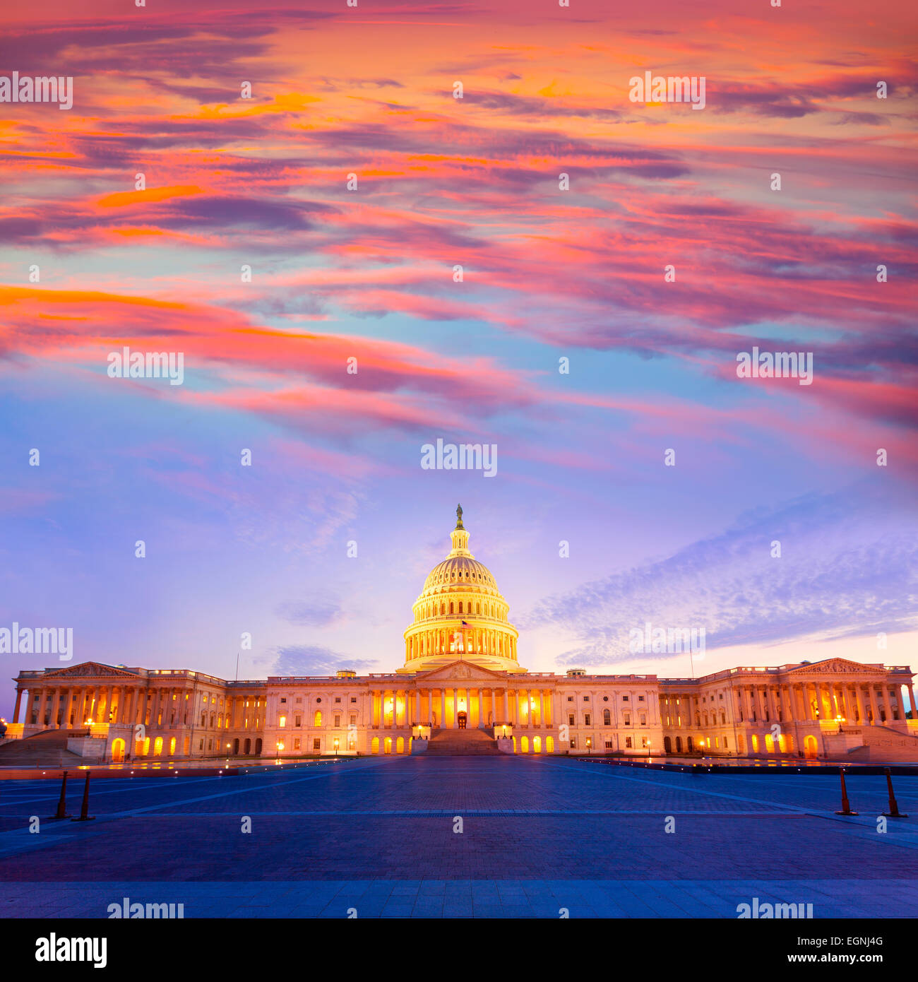Capitol building Washington DC coucher de soleil au Congrès des Etats-Unis USA Photo Stock