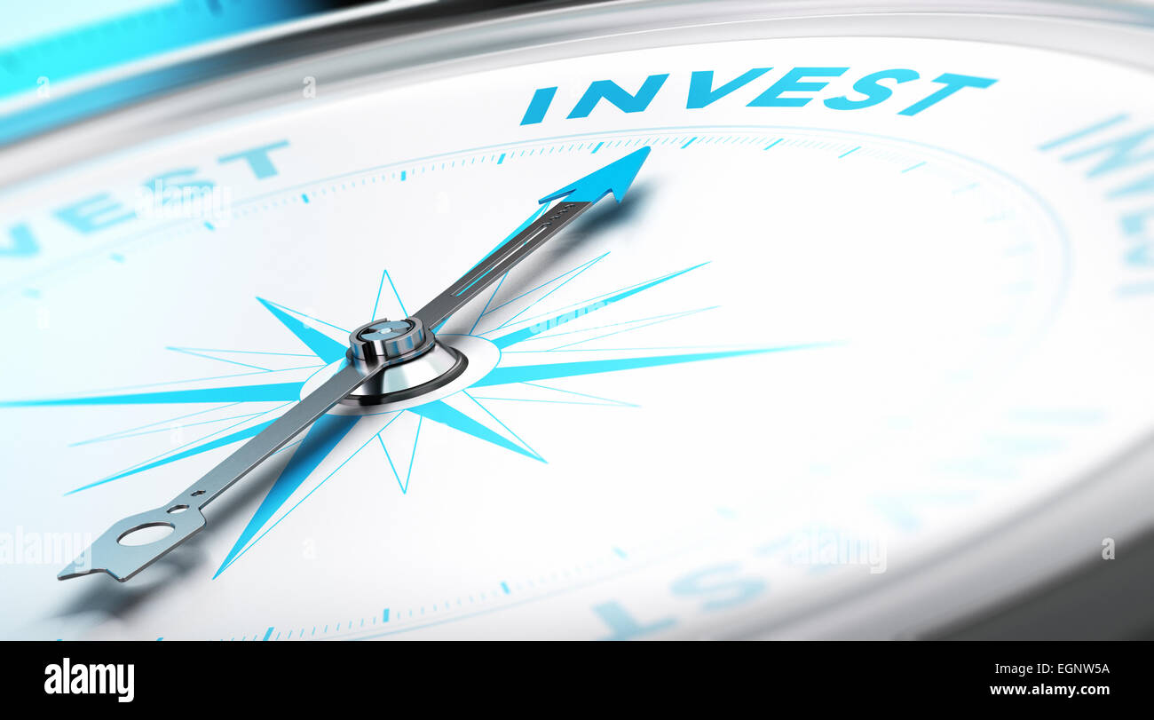 Boussole, l'aiguille dirigée vers le conceptuel à la parole d'investir. Image d'arrière Photo Stock