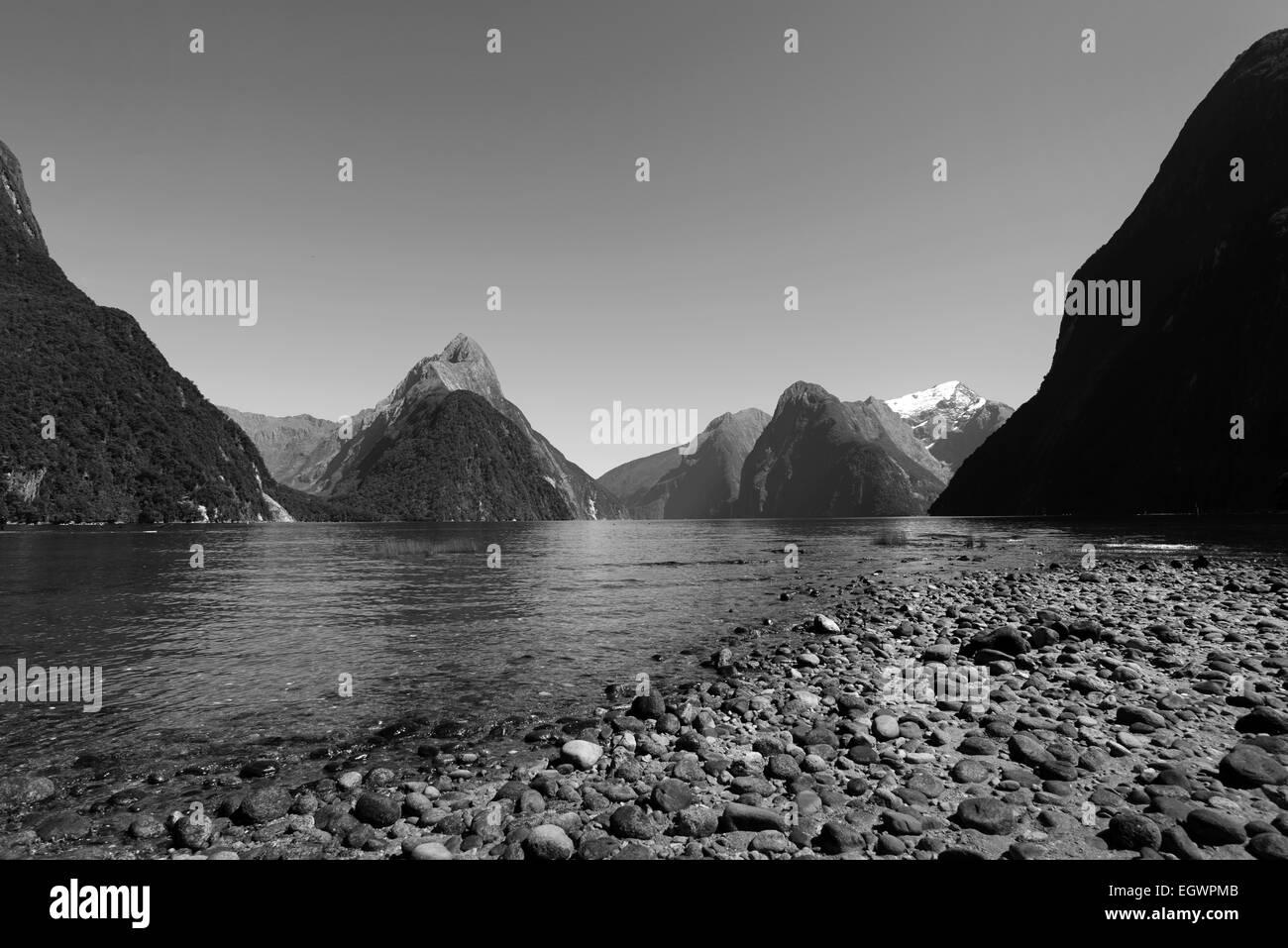 Milford Sound, Fiordland, île du Sud, Nouvelle-Zélande Banque D'Images
