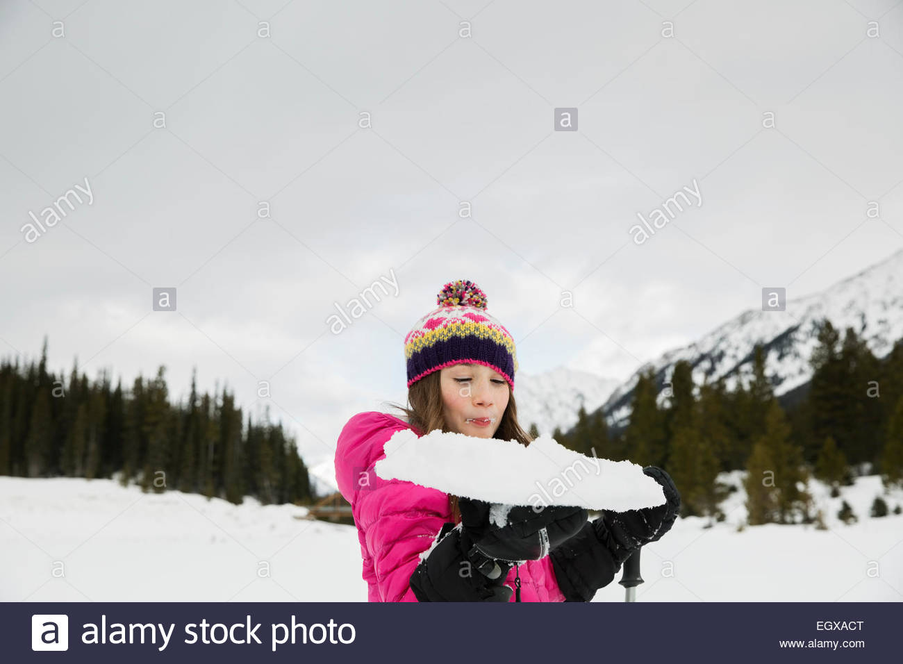 Girl holding snowy snowshoe en domaine Photo Stock