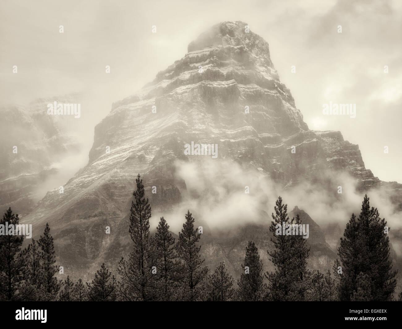 Mt. Khéphren dans le brouillard et la pluie/neige. Le parc national Banff, Alberta, Canada Photo Stock