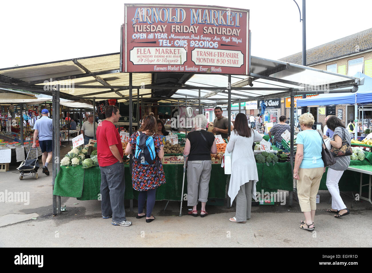 Marché aux puces d'Arnold, Nottingham Photo Stock