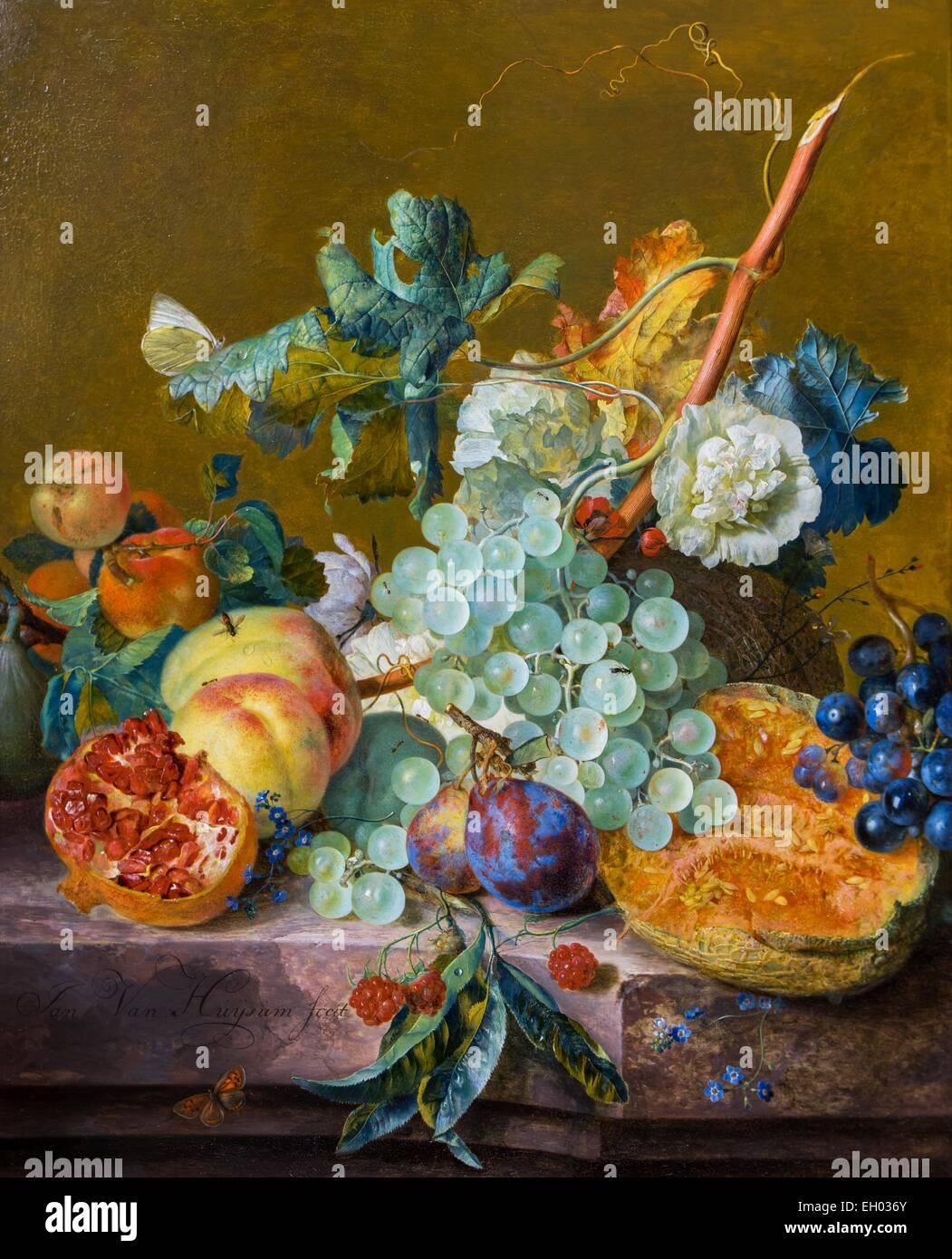 ActiveMuseum_0003302.jpg / Still Life aux fruits 25/10/2013 - 18e siècle / Collection / Musée actif Photo Stock