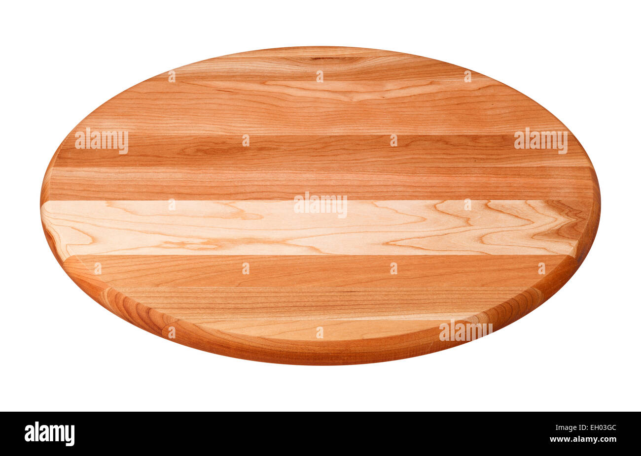 Planche à découper en bois rond isolé sur blanc. Photo Stock