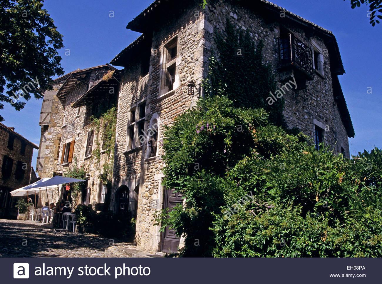 France, Rhône-Alpes, Ain, vieille ville de Perouges Photo Stock