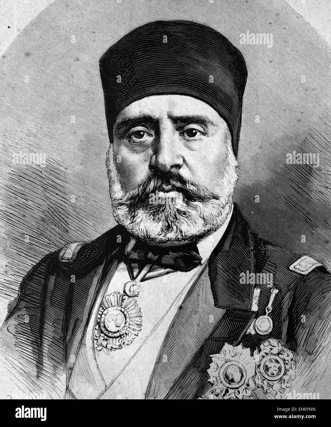 Mohammed es Sadok Pascha, bey de Tunis, illustration historique, vers 1886 Photo Stock