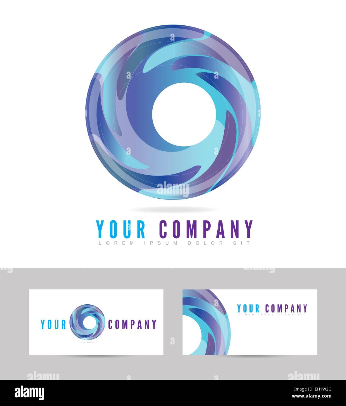 Licne Bleu Logo Dentreprise De Carte Visite Avec Vecteur