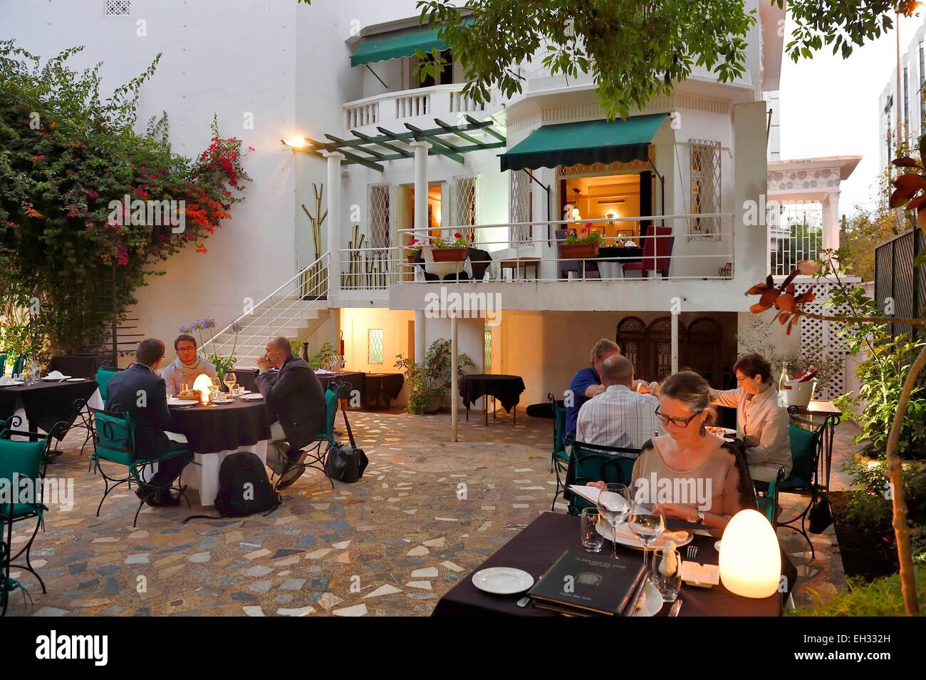 Maroc, Casablanca, restaurant le rouget de l'Isle Photo Stock