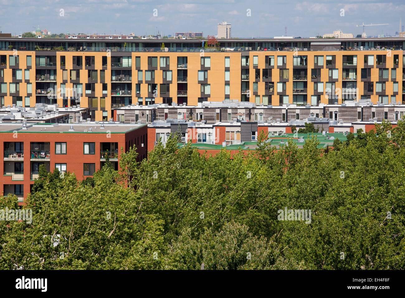 Canada, Québec, Montréal, Rosemont-Petite-Patrie, d'immeubles à appartements Photo Stock