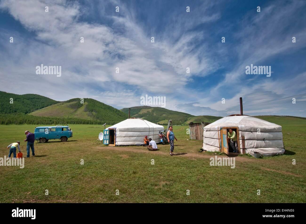 La Mongolie, l'Arkhangai, vivant dans la steppe Banque D'Images