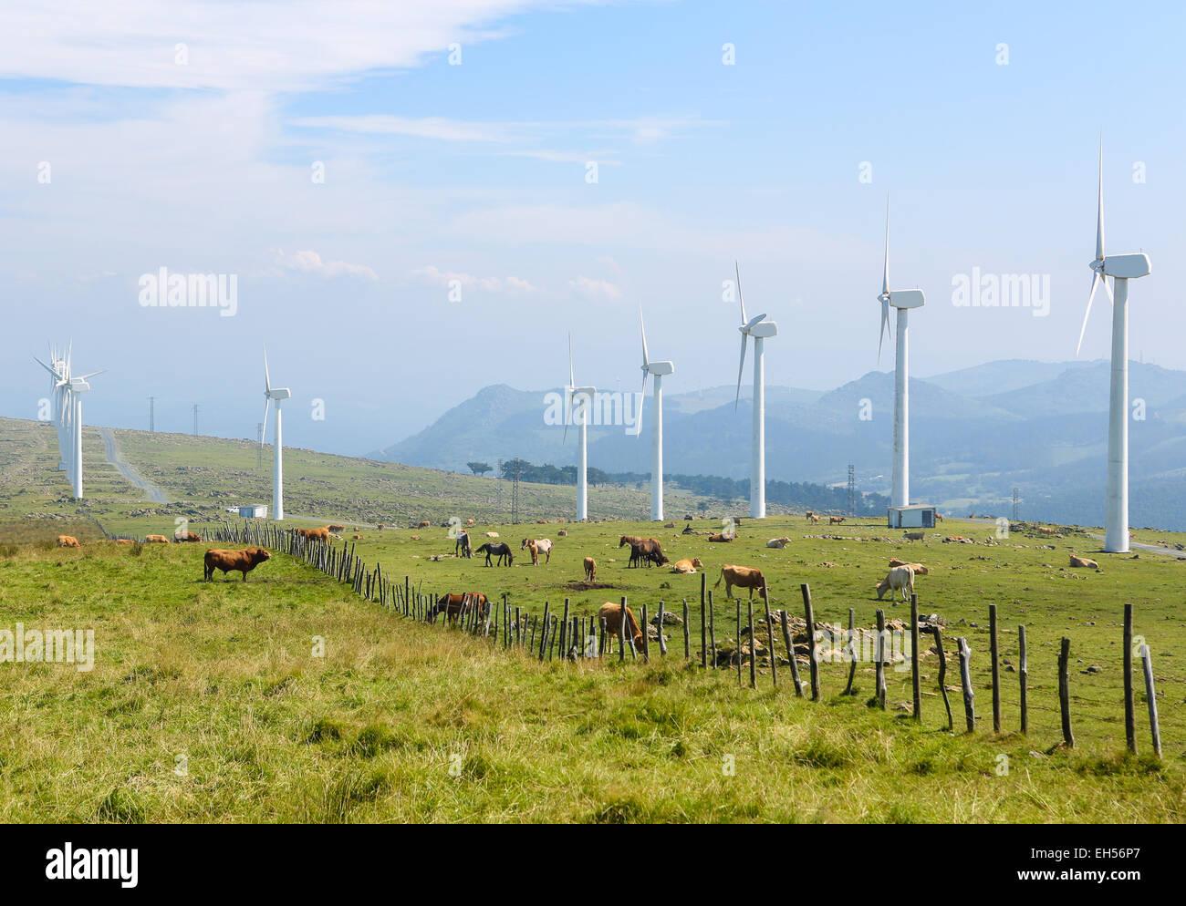 Ferme éolienne à terre dans la partie nord de la Galice, Espagne. Photo Stock