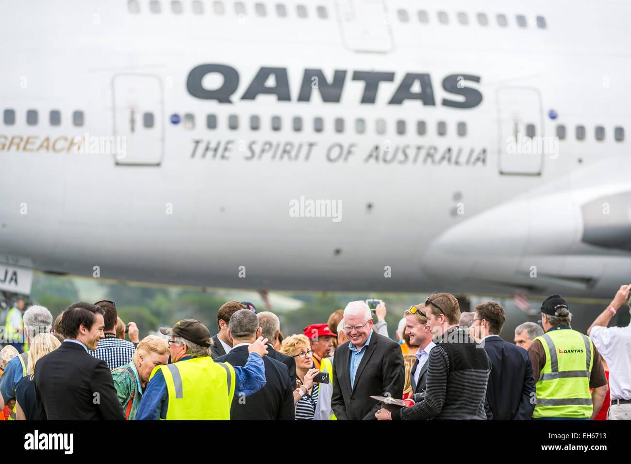 Sydney, Australie. 8 mars, 2015. Qantas a pris sa retraite de son premier Boeing 747-400, VH-oja, qui a volé Photo Stock