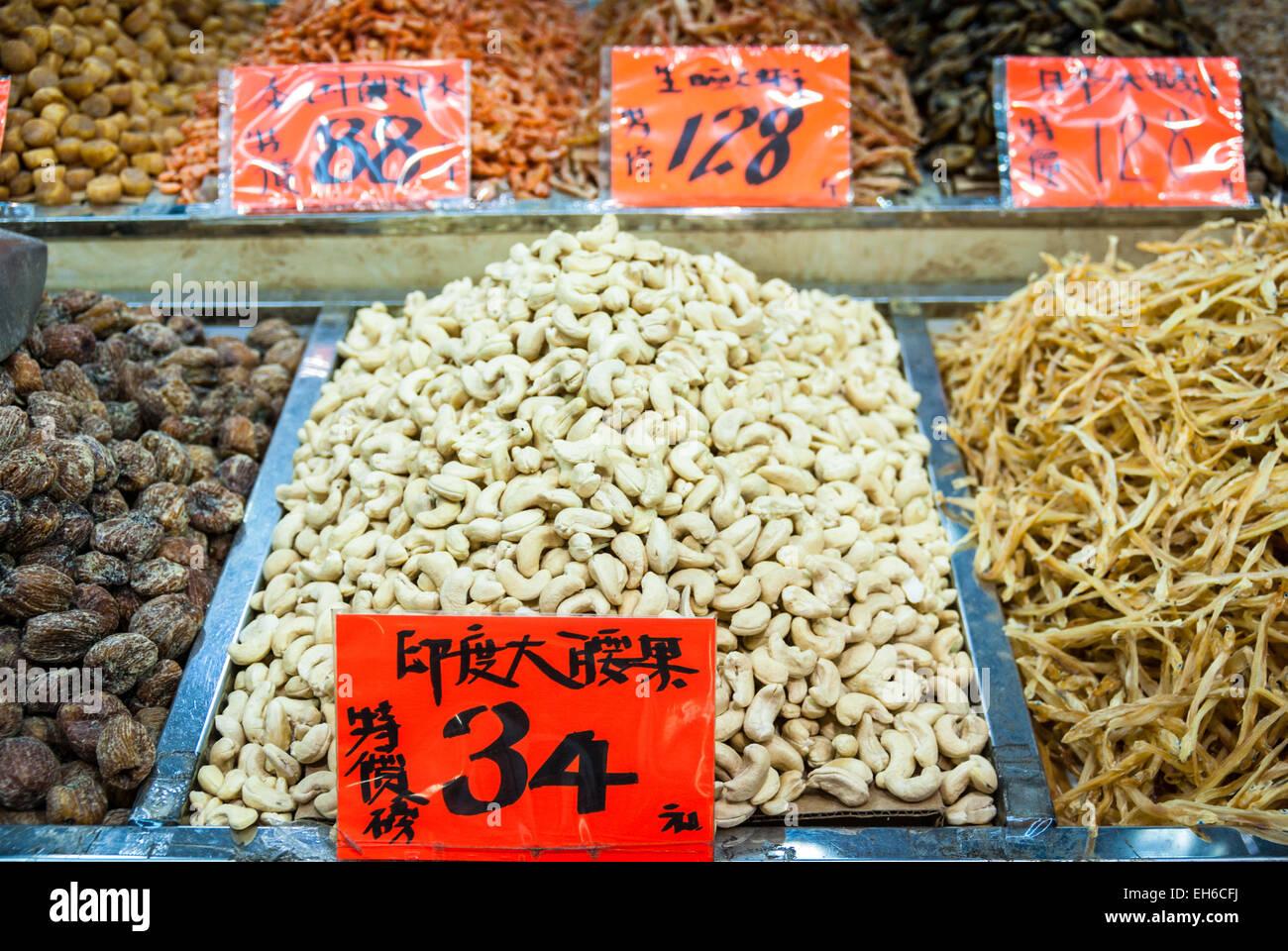 Les fruits séchés et les noix à vendre à Hong Kong Banque D'Images