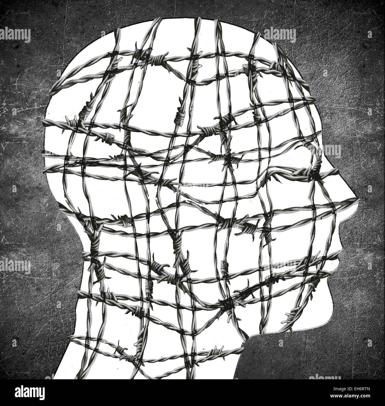 Silhouette de la tête avec du fil de fer barbelé illustration numérique Photo Stock
