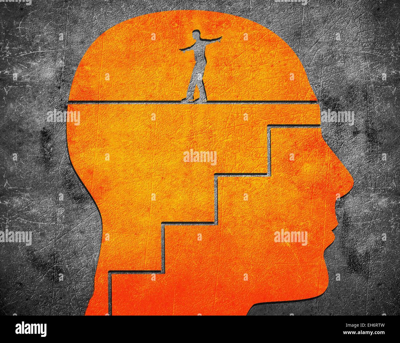 Tête avec escalier et funambule illustration numérique Photo Stock