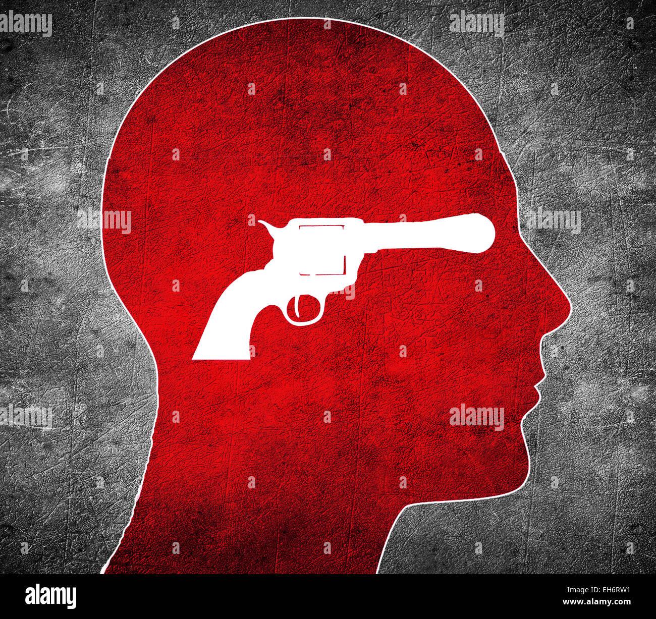 Silhouette rouge tête avec des armes à feu blanc Photo Stock