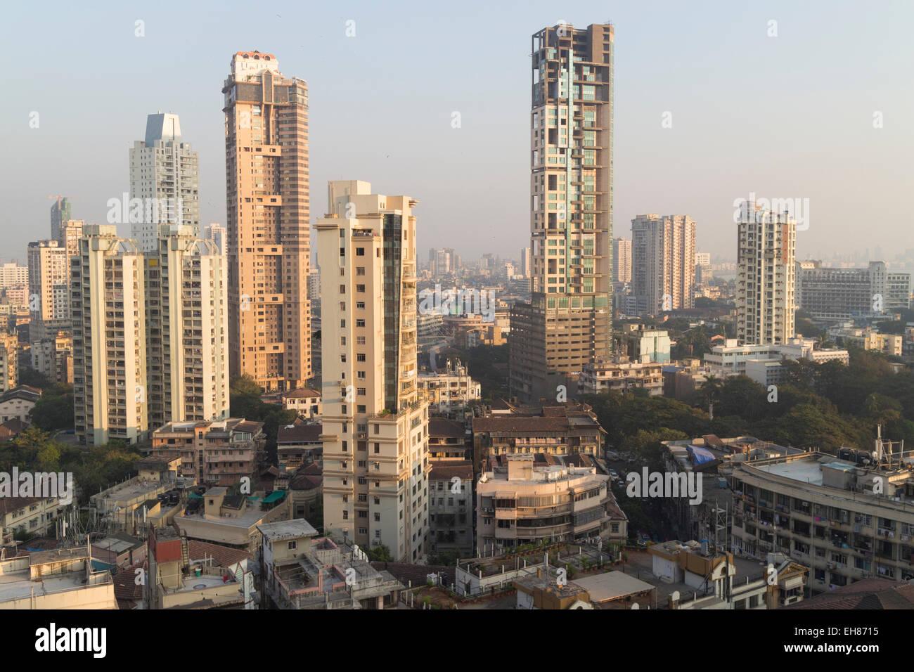 Mumbai skyline de Malabar Hill, Mumbai, Maharashtra, Inde, Asie Photo Stock