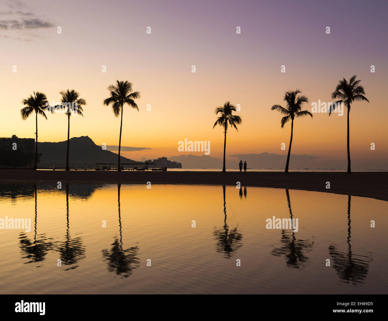 La plage de Waikiki, Hawaii Photo Stock