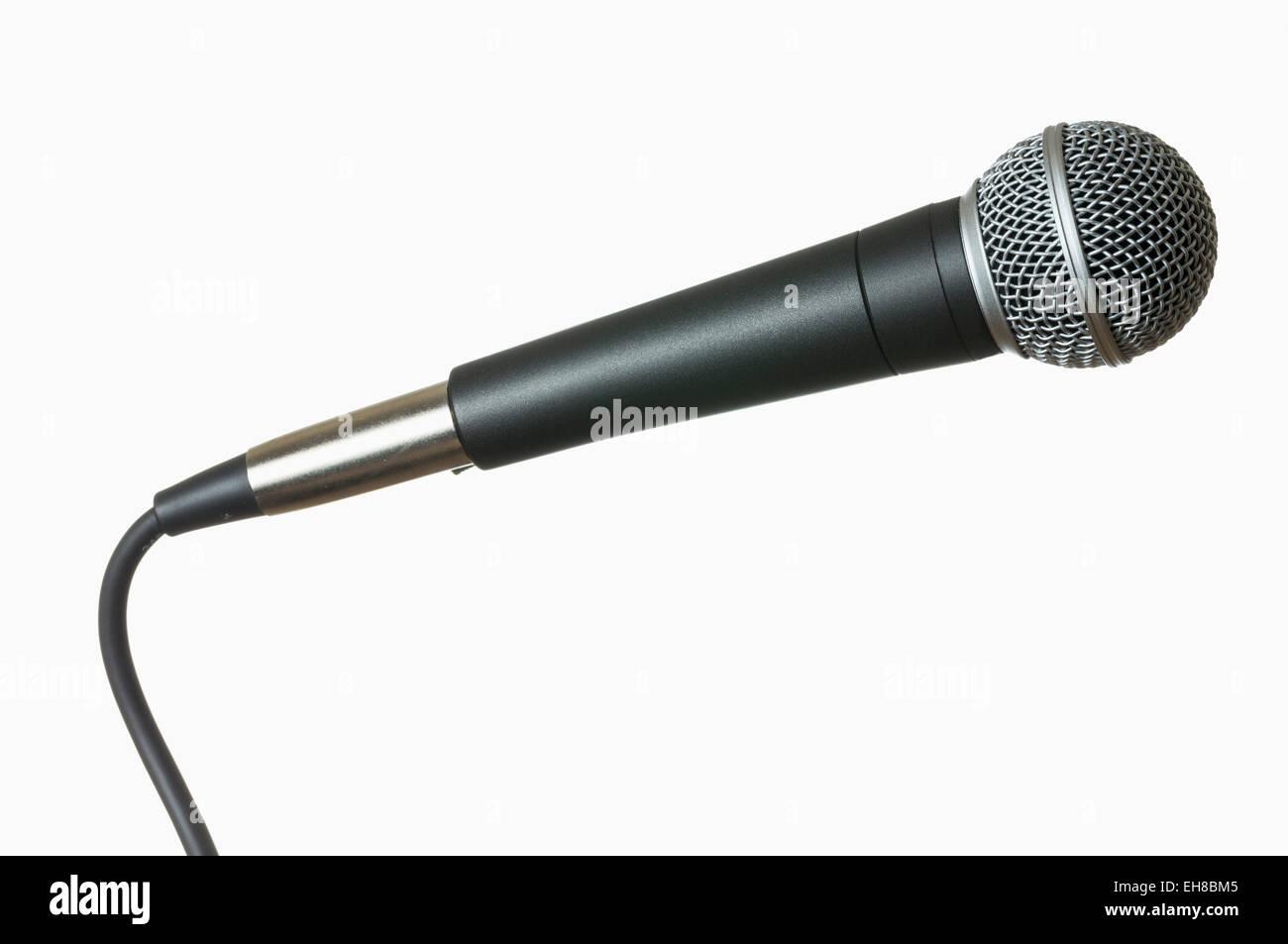 Microphone avec câble isolés contre white Photo Stock